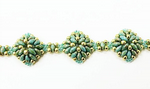 Diamond SuperDuo Bracelet Beadwork Kit - Picasso Blue/Green and Zest